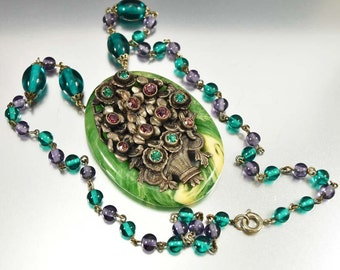 Art Deco Czech Necklace, Galalith Pendant, Purple Green Rhinestone Necklace, Czech Glass Vintage 1920s Art Deco Jewelry, Flower Basket