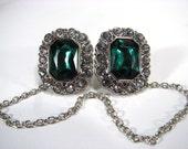 Sweater Clip Emerald Green Jewel White Rhinestones Silver Linked Chain Jacket Clasp