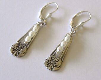 Pearl Earrings, Wedding Earrings, Silver Salt Spoon Earrings, Shabby Chic Earrings, Floral Earrings, Junior Bridesmaid Bridal Earrings