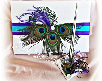 Peacock weddings guest book and pen set, purple and turquoise peacock feather wedding decorations.
