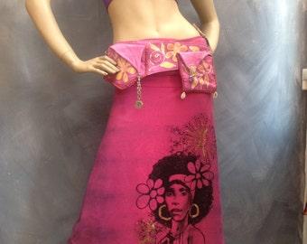 Flower child hot pink dashiki dress Badu long dress and reversible jacket sz medium