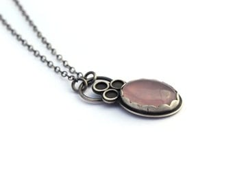 Sterling Silver Necklace, Rose Quartz Necklace, Oxidized Silver, Gemstone Necklace, Sentimental Artisan Jewelry, Contemporary Jewelry