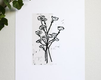 Dogwood Relief Linocut Print • Hand Pulled Fine Art • Botanical