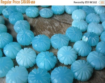 SALE Peruvian Blue Opal Beads, Carved Coin, 12 to 14mm, Peruvian Opal Beads, Beach, Aqua Blue Gemstone, Weddings, Loveofjewelry, SKU 3262