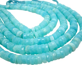 Blue Peruvian Opal Beads, Faceted Heishi, Wholesale Opal, Blue Opal Heishi, SKU 4818