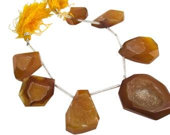 Druzy Quartz Beads, Drusy Beads, Yellow Chalcedony Druzy Beads, Drusy Quartz, Quartz Drusy, 22mm x 28mm, Loveofjewelry, Duzy, SKU 3752