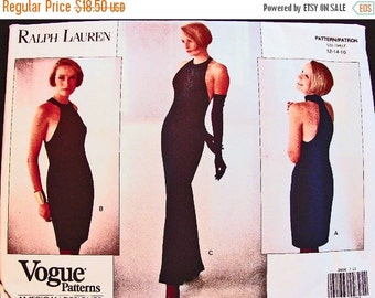 on SALE Ralph Lauren 1990s Vogue American Designer Pattern Misses size 12 14 16 UNCUT Racerback Halter Gown, Halter Dress Pattern