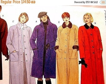 Sewing Pattern SALE Womens Maxi Coat Pattern Butterick Misses size 8 10 12 UNCUT Ladies Coat with Detachable Collar Cuffs Sewing Pattern