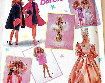 Sewing Pattern SALE Barbie Clothes Pattern UNCUT Barbie Dresses, Wedding Dress, Bridesmaid Dress, Swimsuit. Coat. Hat Barbie Patterns