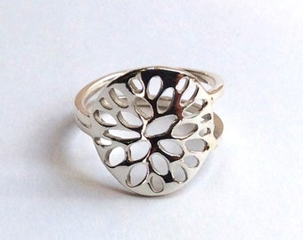 Sterling silver ring, unique ring, shiny silver ring, statement ring, silver band, casual ring, holes ring, thin band - Black holes R2350