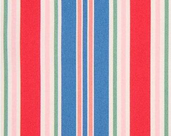 209159 dark blue peach Lecien oxford fabric stripe