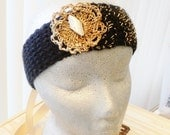 Hair Decoration...Golden Dust.... Headband ...Hand Made ...Knitted