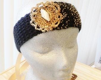 Hair Decoration...Golden Dust.... Headband ...Hand Made ...Knitted