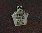 Pet charm, Dog House Charm  25mm x 21mm , cast zinc , made in USA 02010CS  3 each