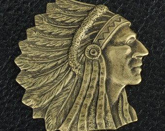 Brass stamped American Indian Chief Charm 30mm size tall  sold by 2 each, 02715AG