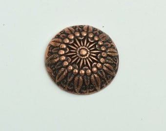 Button , flat back copper plate, sold 3 per package 09584AC
