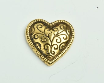Heart Pendant, 1 sided 25mm width, antique gold finish , 3/each 09580AG