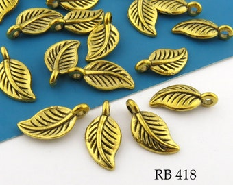 Small 14mm Brass Leaf Charm  (RB 418) 20 pcs BlueEchoBeads
