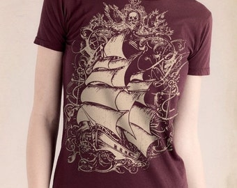 CLEARANCE SALE Pirate Ship Womens T-Shirt, Tall Ship, Women's Bordeaux T-shirt, Gift for Her