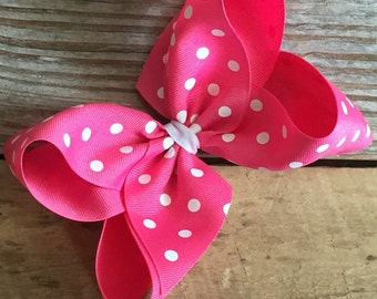 "6"" Hot Pink Polka Dot Boutique Bow"