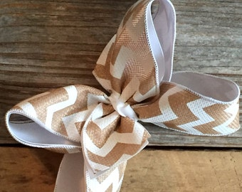 "8"" Chevron Burlap Bow layered white"