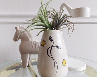 European 1950's Abstract small white Vase / Dutch hand painted vase/ 50s ceramic planter