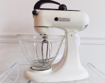 SPECIAL OFFER-1950s Kitchen-aid kitchen mixer/ 50s black white mixmaster/ Mid Century kitchen appliance