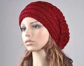 Hand knit hat winter woman hat Red Chunky Hat with Band slouchy hat wool hat oversized hat