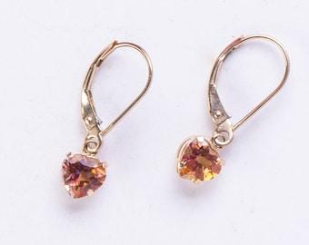Topaz 10k Gold Earrings - Vintage Leverback - Heart Shaped Citrine