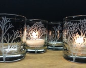 4 Woodland Candle Holders Home Decor Cabin Decorations Table Decor Engraved Glass Candles
