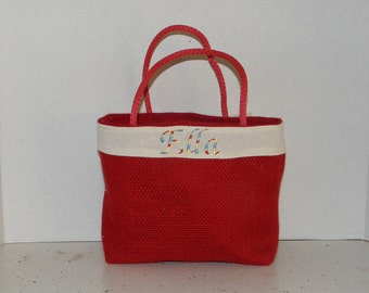 Red Burlap  Gracie  Size Monogrammed, Personalized Tote,Valentines, Easter,  Flower Girl, Bridesmaids, Wedding, Birthday, Shower gift, Bag