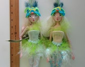 PAIR of LOVE BIRDS, Art Dolls primitive jointed puppets Ooak