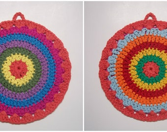 Mandala Potholder, Hot Pad, Trivet, Double Sided, Crocheted Cotton Yarn, Reversible