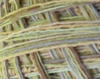 DK sport yarn Green Tea cotton blend, 200 yards 2 skeins, by dj runnels, green gold beige yellow