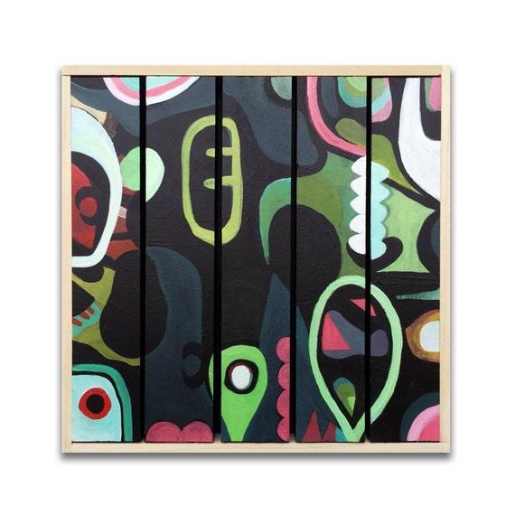"Beta Beat - Original painting on wood slats - 8"" x8"""