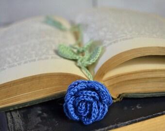 Blue Rose Handmade Crocheted Flower Bookmark