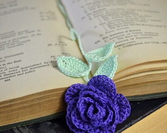 Deep Purple Rose Handmade Crocheted Flower Bookmark