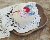 baby and toddler headband // photography prop // newborn photo prop // shabby chic // red white blue // polka dots // denim // picnic basket