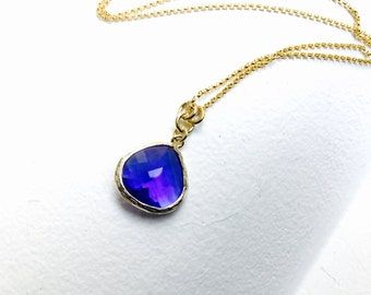 Sapphire blue - Tear Drop - Crystal Glass Gold Long Necklace