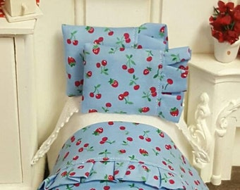Miniature Dollhouse Children's Bed With Bedding