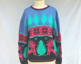 80s Folk Art Deer Sweater