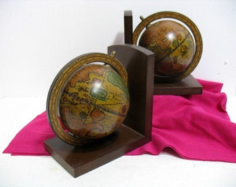 Vintage Old World Globe Map Bookends Made in Italy Mad Men Mid Century Bookends