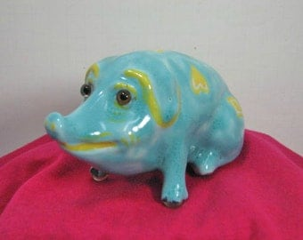 Majolica Pig, French signed 1942 XI Antique Hog Figure Signed by Artist France