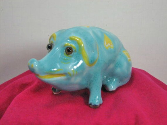 Majolica Pig, Antique Hog Figurine, 1941 France XI, Turquoise Blue Pottery Pig Figure