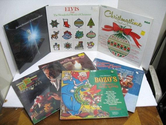 Vintage Lot of 7 Sealed Christmas Xmas Lps Record Albums, Elvis Bozo Streisand Rogers etc.