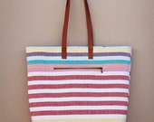 Spring Fling Stripes and leather Extra Large Tote bag, beach bag, weekender, purse, travel bag