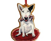 Bull Nose Terrier Christmas Tree Ornament -wooden ornament by Cindy Day