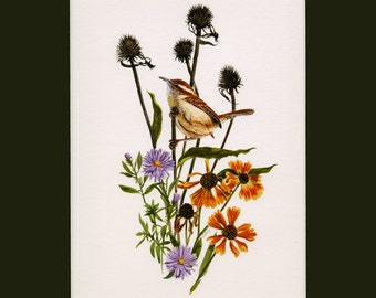 "Bird Botanical Watercolor 5""x7"" GicléePrint ""Autumn Wren"""