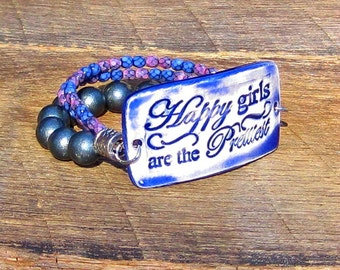 Happy Girls are the Prettiest Triple Strand Bracelet blue grey purple pink orchid quote phrase saying words inspirational inspiration boho