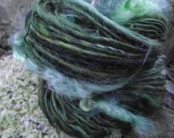 Handspun art yarn, BFL wool art yarn with locks of Kid Mohair thick and thin-Loch